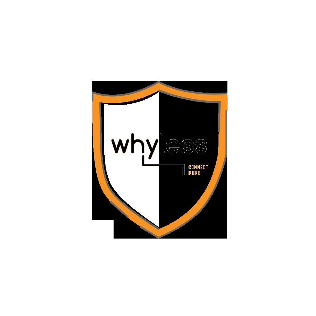 Whyless logo met schild