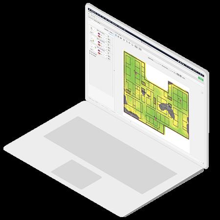 Laptop met site survey tool